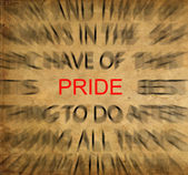 Blured text on vintage paper with focus on PRIDE — Stock Photo
