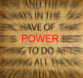 Blured text on vintage paper with focus on POWER — Stock Photo