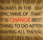 Blured text on vintage paper with focus on CHANGE — Stock Photo
