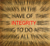 Blured text on vintage paper with focus on INTEGRITY — Stock Photo