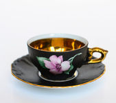 Beautiful floral vintage cup with plate isolated — Foto de Stock