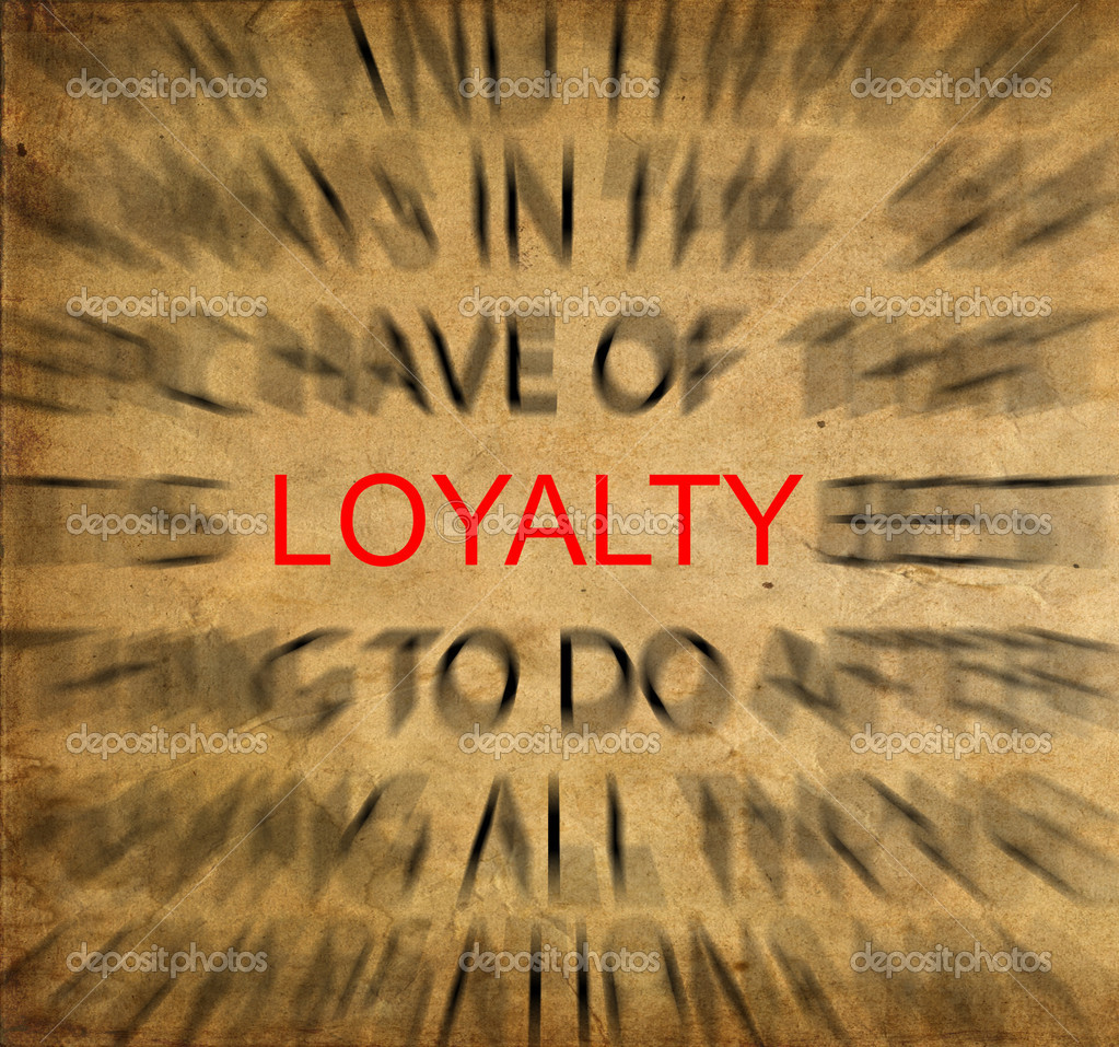 Blured text on vintage paper with focus on LOYALTY — Stock Photo #11488549