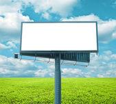 Beautiful green field with empty billboard — Stock Photo