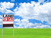 "Real estate conceptual image - ""FOR SALE"" sign on empty meadow — Stock Photo"