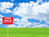 """LAND FOR SALE SIGN"" on empty meadow - Real estate conceptual im — Stock Photo"