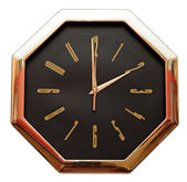 Golden wall clock isolated on white — 图库照片