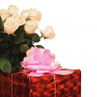 Stock Photo: Bouquet beautiful roses and gift box isolated on white backgroun