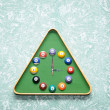Wall clock in snooker hall in triangle frame shape — Stock Photo