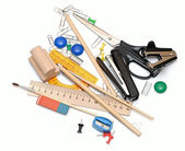 Many office tools on a white background — Stock Photo