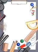 Pohled nástroje sady office na bílém pozadí — Stock fotografie