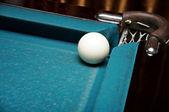 White Russian billiard ball near the pockets — Stock Photo