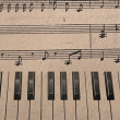 Music background with piano keys in grunge style. Music concept. — Foto de Stock