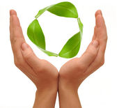 Recycling symbol made from hands isolated on white background . — Stockfoto