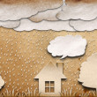 Rainy view recycled paper craft stick on brown background - Stock Photo