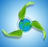 Recycling symbol with world map in background — Stock Photo