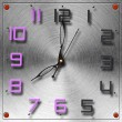 Stock Photo: Modern clock on circular metal brushed texture