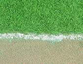 White stripe on the green soccer field from top view — Stock Photo