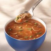 Bowl of tomato vegetable soup — Stock Photo