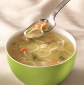 Bowl of chiken soup — Stock Photo