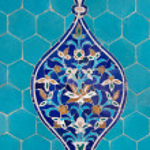 Motif on Blue Tiles — Stock Photo