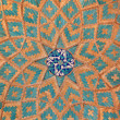 Brickwork mixed with blue tiles inside a mosque - Stockfoto