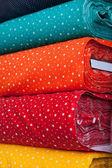 Têxteis coloridos com padrão de estrela — Foto Stock