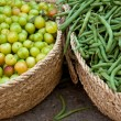 Fresh Green String Beans and Sour Drupe — Stok fotoğraf