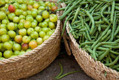 Fresh Green String Beans and Sour Drupe — Stock Photo