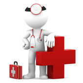 Doctor with medical cross symbol — Stock Photo