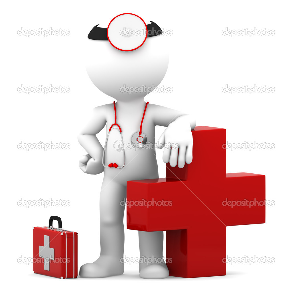 Doctor with medical cross symbol. Isolated on white — Stock Photo #10737215