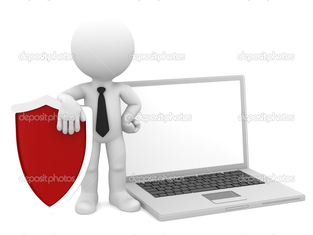 Businessman with shield and laptop. Internet/computer security concept. Isolated — Zdjęcie stockowe #10737353