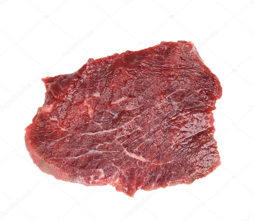 Fresh raw beef steak over white — Stock Photo #11059489