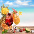 Fruit cocktails on the beach — Stock Photo #11603901