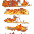 Stock Photo: Fire flames collection on white