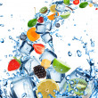 Fresh fruit in water splash with ice cubes — Stock Photo #11604076