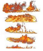 Fire flames collection on white — Stock Photo