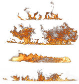 白い背景の上の火の炎コレクション — ストック写真