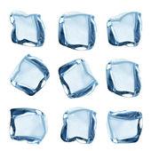 Collection de cubes de glace sur blanc — Photo