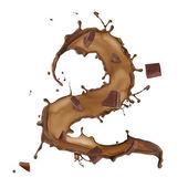 Chocolate salpicar número 2 aislado sobre fondo blanco — Foto de Stock