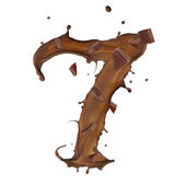 Chocolate splash number 7 isolated on white background — Stock Photo