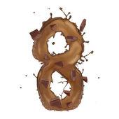 Chocolade splash nummer 8 geïsoleerd op witte achtergrond — Stockfoto