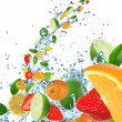 Stock Photo: Fresh fruit in water splash