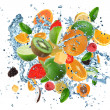 vers fruit op water splash — Stockfoto