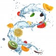 Fruit in water splash — Stock Photo