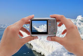 Photographing ice pier — Stock Photo