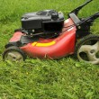 Stock Photo: Lawn mower cutting grass