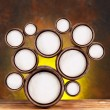 Abstract design of round shapes in the form of beer barrels on a — Stok fotoğraf