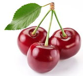 Cherries with the leaf — Stockfoto
