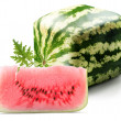 Cubic watermelon with slice - Stock Photo