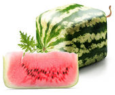 Cubic watermelon with slice — Stock Photo